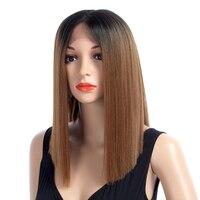 XCCOCO химическое Синтетические волосы на кружеве парик для Для женщин прямой жаропрочных волокна волос средней части 150% Плотность