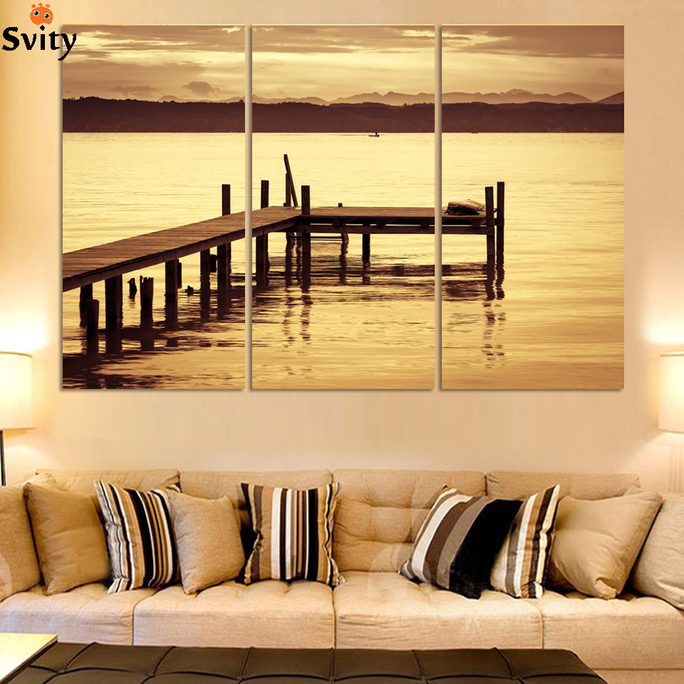 NºUnframed 3 Piece The Yellow Sea And setting sun Modern Home Wall ...