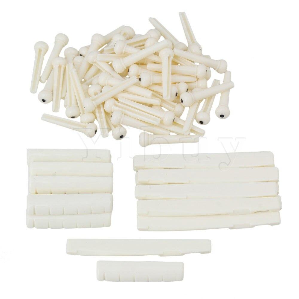 Yibuy 50 x Cream Color Plastic 6 String Acoustic Folk Guitar Bridge Pins Saddles Nuts