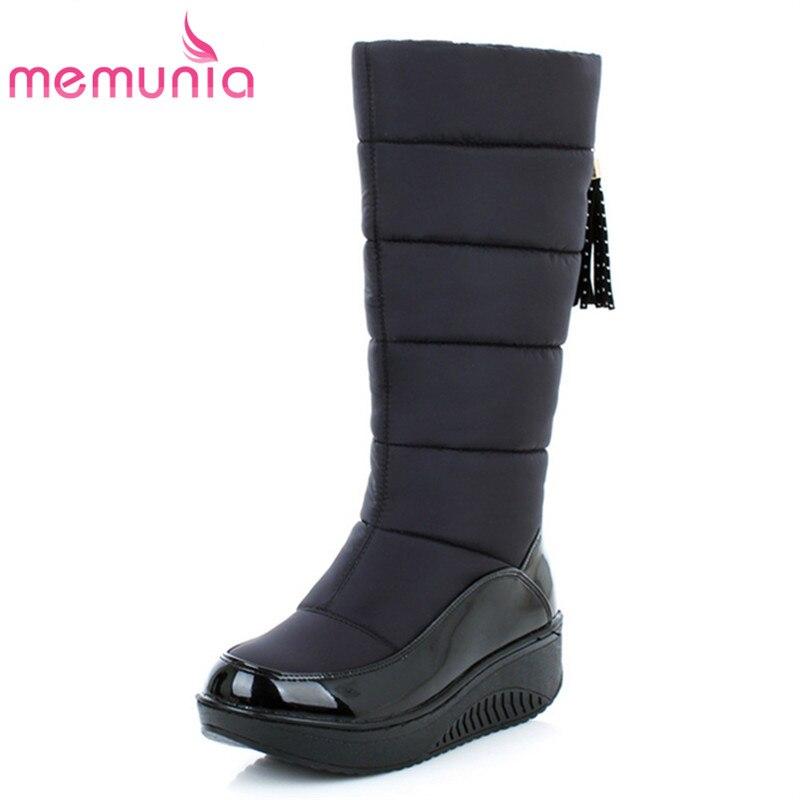 MEMUNIA Schnee stiefel für frauen schuhe plattform patent leder hohe qualität quaste schuhe baumwolle mitte kalb winter stiefel größe 35 -44