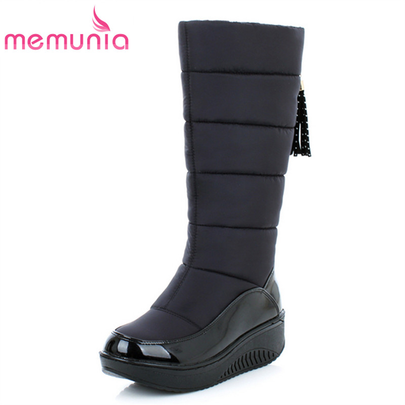 MEMUNIA Snow boots for women shoes platform patent leather high quality tassel footwear cotton mid calf winter boots size 35-44 superstar cow suede tassel leather boots platform zipper med heels rivets snow boots round toe mid calf boots for women l2f7