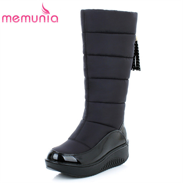 MEMUNIA Snow boots for women shoes platform patent leather high quality tassel footwear cotton mid calf winter boots size 35-44