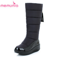 Snow Boots For Women Shoes Platform Patent Leather High Quality Tassel Footwear Cotton Knee High Winter