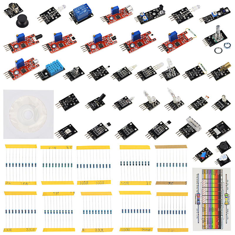 Raspberry Pi 3 Model B+ Sensor Kit 37 in 1 set 37 kind of Sensors + 100 pcs Resistor for for UNO R3 + Learning CD + Retail Box raspberry pi 3 light basic learning starter kit for diy resistors kit for uno r3 board