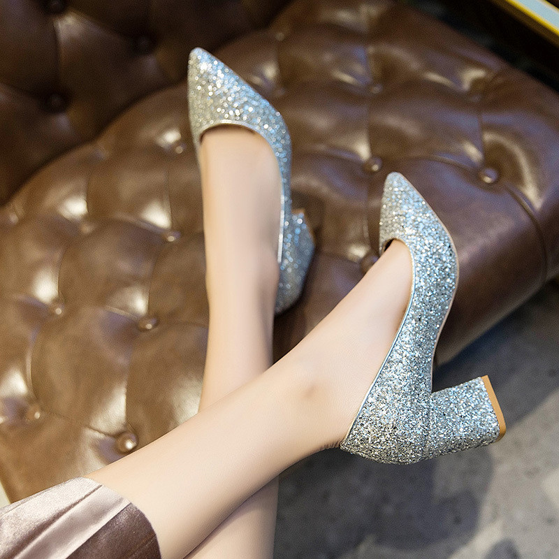 Mixed Colors Bling High heels pumps women shoes 2019 spring autumn shoes women Fashion Shallow Pointed Square heel Wedding shoes 4