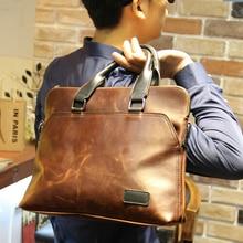 Fashion designer high quality men's bags vintage man portfolio male case for ipad business briefcase handbags tote B00013