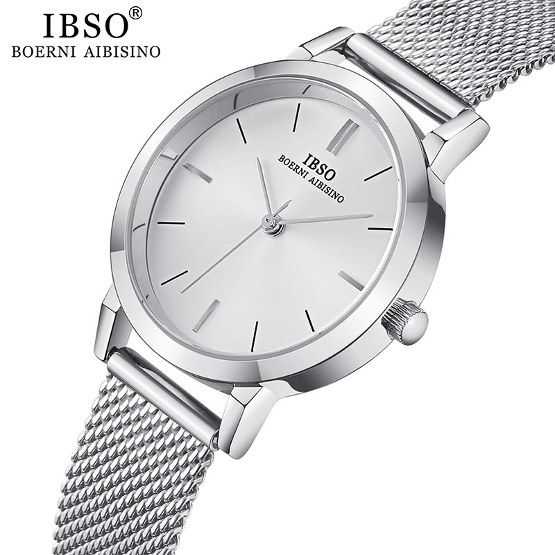 IBSO Women's Quartz Watches Simple Ultra Thin Stainless Steel Mesh Strap Quartz Clock Hours Ladies Simple Relogio Masculino