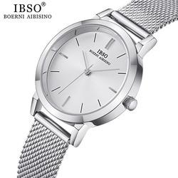 Ibso relógios de quartzo feminino simples ultra fino aço inoxidável malha cinta relógio de quartzo horas senhoras simples relogio masculino