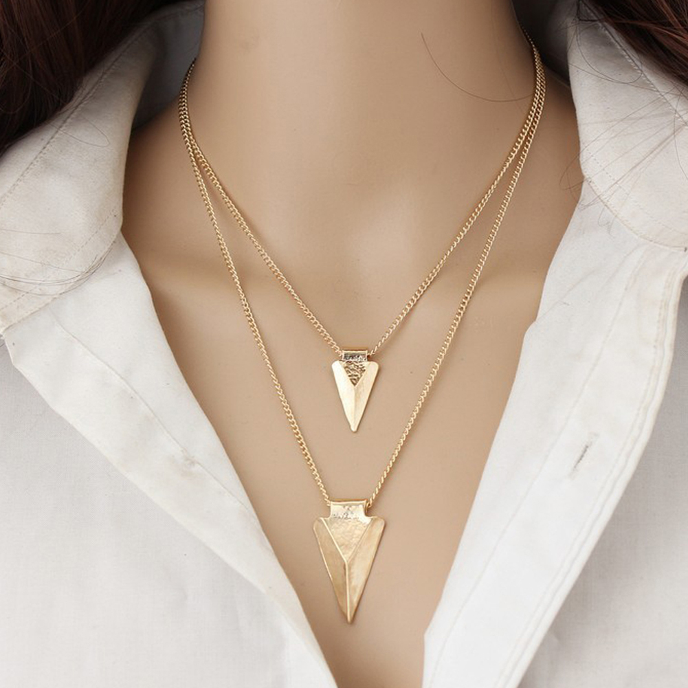 1 Pair Fashion Collar Necklace Women Vintage Collier Chain Metal Triangle Pendant Long Necklaces Fine Jewelry
