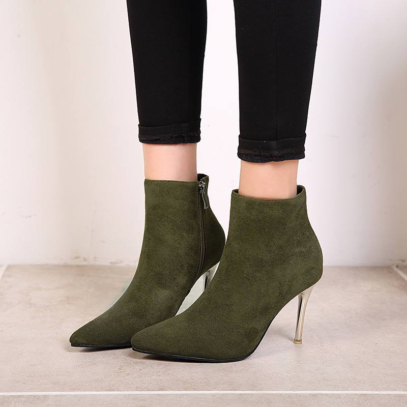 NEW women ankle boots high heel chelsea boots winter zip pointed toe fashion black red green warm shoes Casual Handmade shoes xiangban handmade genuine leather women boots high heel ankle boots pointed toe vintage shoes red coffee 6208k11