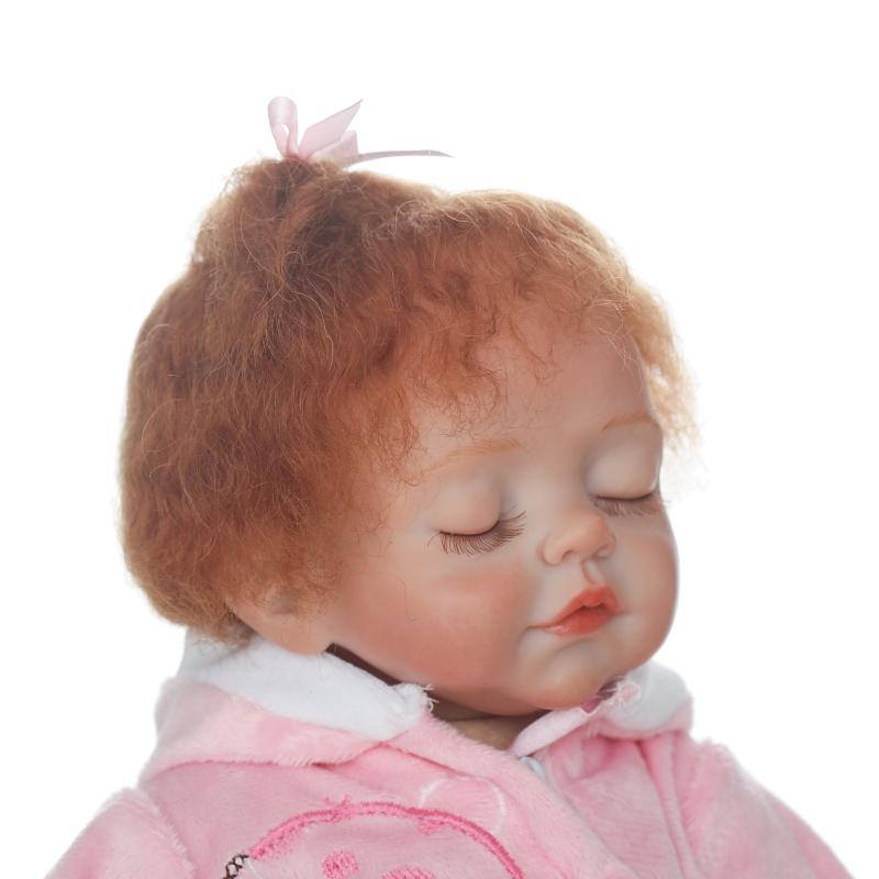 16inch Soft Silicone Vinyl Dolls Bebe Reborn Baby Curly Brown Mohair Girl Handmade Cotton Body Lifelike Juguetes Babies Toys
