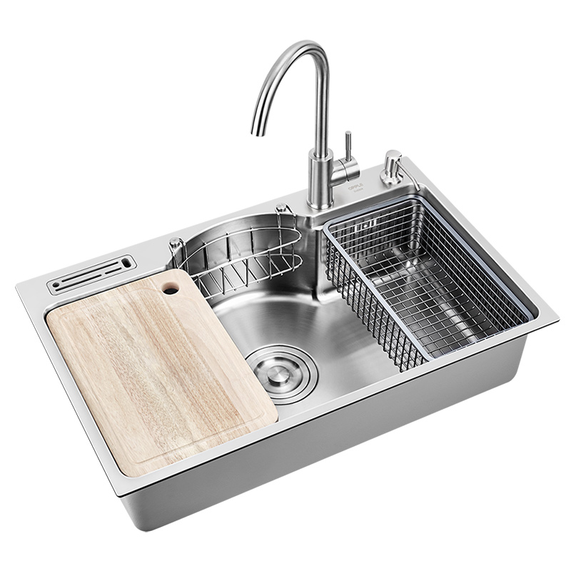 304 Stainless Steel Large Single Tank Thickened Vegetable Washing Pool With Faucet Set SINGLE BOWL SINK KITCHEN WITH FAUCET