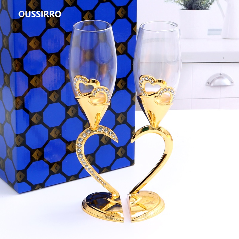 2 PCS /Set Crystal Wedding Toasting Champagne Flutes Glasses Drink Cup Party Marriage Wine Decoration Cups For Parties Gift Box2 PCS /Set Crystal Wedding Toasting Champagne Flutes Glasses Drink Cup Party Marriage Wine Decoration Cups For Parties Gift Box