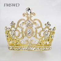 Trendy Luxury Full Rhinestone Big Crown Bridal Royal Tiara Large Crystal Crown Princess Bride Wedding Headpiece Headdress HG 190