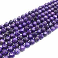 Cuentas de piedra de Charoite ruso Natural Beadztalk redondo liso 6 mm 8 mm 10 mm 12 mm para hacer joyería DIY suministros de Color climatizada
