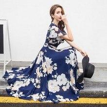 2019 Bohemian Style Summer Beach Dress Collect Waist Flower Printed Dress Woman Flare Sleeve Chiffon Long Dress все цены