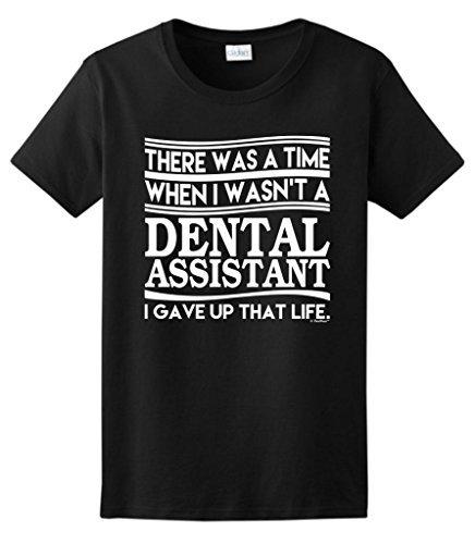 Era el Momento Cuando no Era Asistente Dental Abandonó Ese Corto Crew O-cuello de la Camiseta Para Las Mujeres