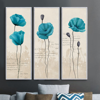 Blue Poppies Illustration Picture Canvas Oil Painting Wall Art Home Decor Living Room Bedroom Office Free