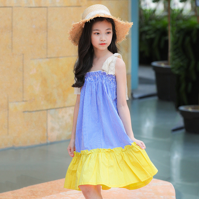 Beach Cotton Dress for Little Girl Blue Yellow patchwork Summer Holiday Dress 6 7 8 9 10 12 13 14 years