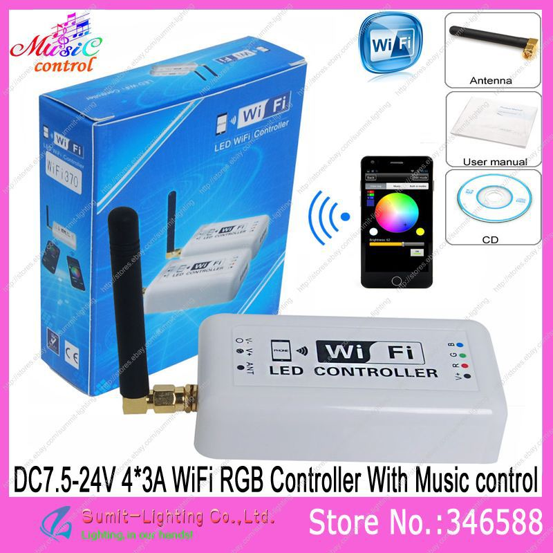 DC7.5-24V 4*3A Wifi RGB LED Controller Millions Color with Music Controller Mode for iPhone/iPad with Android or IOS system цены онлайн