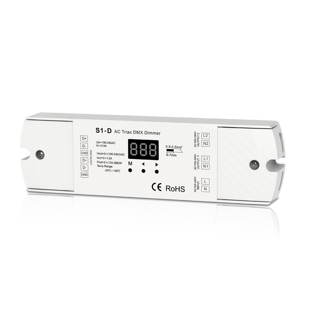 Two Channel Output AC Triac DMX Dimmer 2 Channel Dimmer Triac Dimmable and Mosfet Dimmable Input Voltage 100-240VAC Output kvp 24200 td 24v 200w triac dimmable constant voltage led driver ac90 130v ac170 265v input