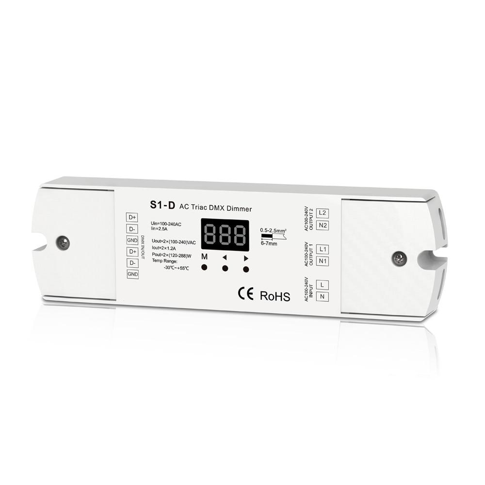 Two Channel Output AC Triac DMX Dimmer 2 Channel Dimmer Triac Dimmable and Mosfet Dimmable Input Voltage 100 240VAC Output