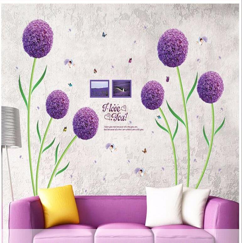 Purple flower ball fashion romantic bedroom living room PVC removable decorative waterproof wall stickers