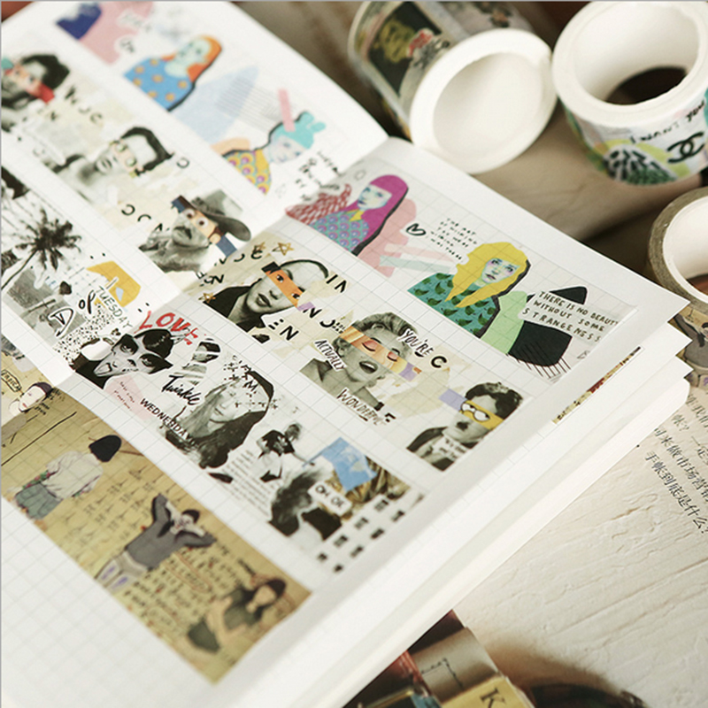 Retro girls series washi tape DIY decoration scrapbooking planner masking tape office adhesive tape label sticker stationery