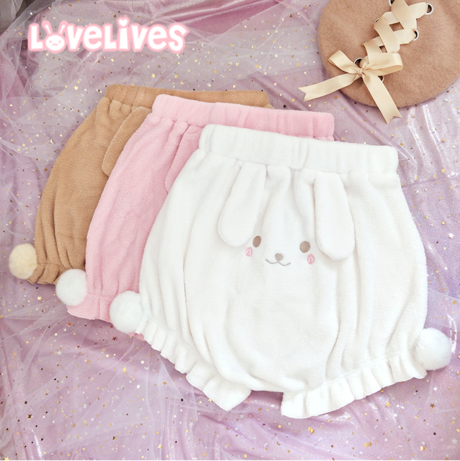 So Cute Lolita Girls Plush Shorts Kawaii Rabbit Pattern Elastic Waist Bloomers Shorts Autumn Winter 4Color