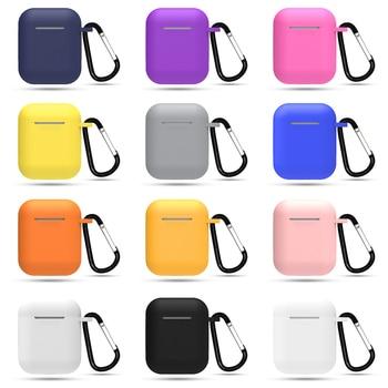 Նորաձև սիլիկոնային ականջակալների հավաքածու հակապրուկային ճարմանդով բարակ պատյան ականջակալների տուփի համար Apple Airpods 2 1 սիլիկոնե ծածկով մանգաղով
