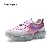 Купить с кэшбэком Shoes Women Chunky Sneakers Platform zapatos de mujer Spring New chaussures femme Ladies footware Breathable Silver Patchwork