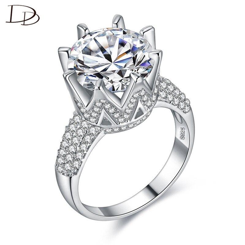 Grande pierre 8 carats brillant cristal anneaux pour les femmes Vintage 925 en argent sterling bague de fiançailles de mariage en cristal bague bijoux DD064
