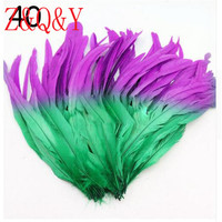 Z & Q & Y new 100 35 40CM (14 16 inches) purple plus grass green bicolor cock tail DIY feather jewelry accessories masquerade