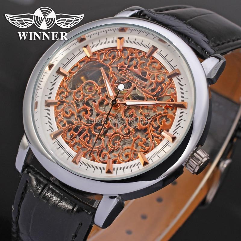 16737da0c الرجل الآلي هيكل عظمي ساعة اليد الجديدة الفائز لون الذهب حزام جلد أسود  wrg8007m3s1 الشحن المجاني