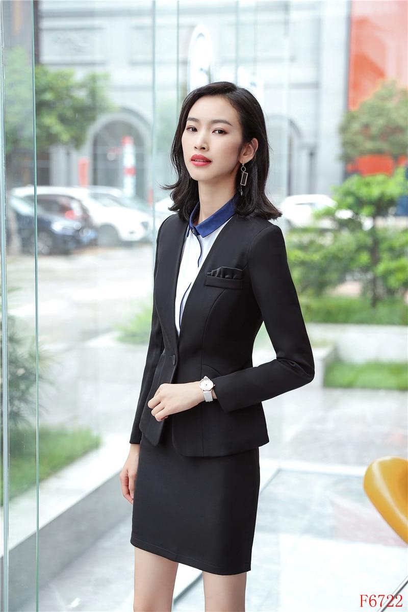 Noir Veste Costumes Styles Porter Travail Jupe Bureau D'affaires Uniformes Et Formelle Femmes Mode Blazer Ensembles w1qdRZZ