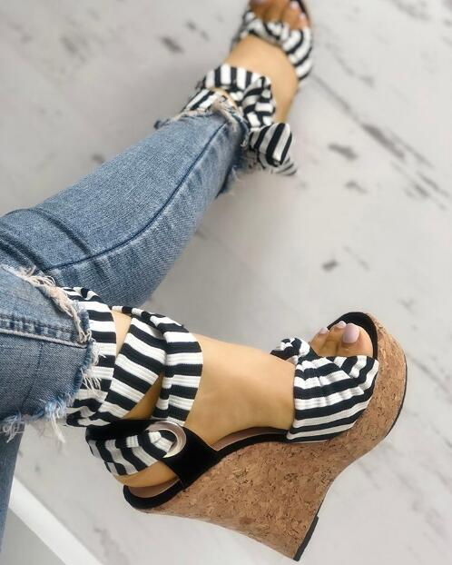 2019 New Ribbon Striped Bowknot Peep-toe Platform Wedge Sandals for Woman Summer Size 35-40 Ankle Strap Shoes2019 New Ribbon Striped Bowknot Peep-toe Platform Wedge Sandals for Woman Summer Size 35-40 Ankle Strap Shoes