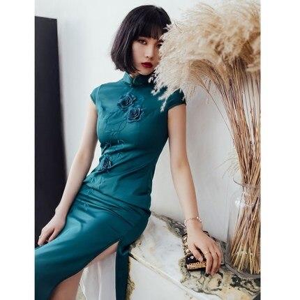 2019 Retro Flower Chinese Modern Girl Cheongsam Qipao Dress