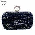 Women's Dazzling Blue Multi Crystal Diamond Evening Clutch Bag Ladies Bridal Mini Wedding Party Hard Case Metal Clutches Handbag