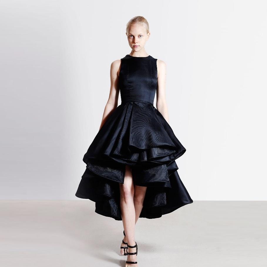 Black elegant tea length formal party dress with lace for Black lace jacket for wedding dress