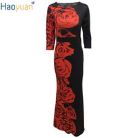 HAOYUAN Women Sexy Vintage Maxi Dress Robe Red Rose Printed Round Neck Bodycon Long Dress Summer