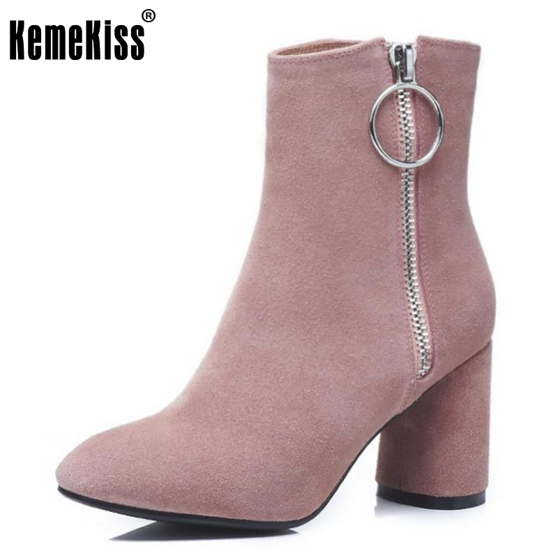 KemeKiss Ladies Real Leather High Heels Mid Calf Boots Female Round Toe Side Zipper Shoes Women Warm Winter Botas Size 34-39 czrbt geniune cow patent leather front zipper women high heels 8cm boots ladies brand style mid calf shoes women 100% handmade