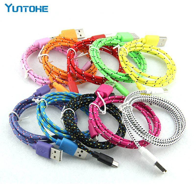 100pcs 1M 2M 3M Braided Fabric Micro USB 2 0 V8 Cord Data Sync Charger Chargering