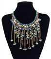 Bohemian Luxury Golden Handmade Pearl Rhinestone Long Tassel Charms Colorful Resin Beads Choker Statement Necklaces for Women