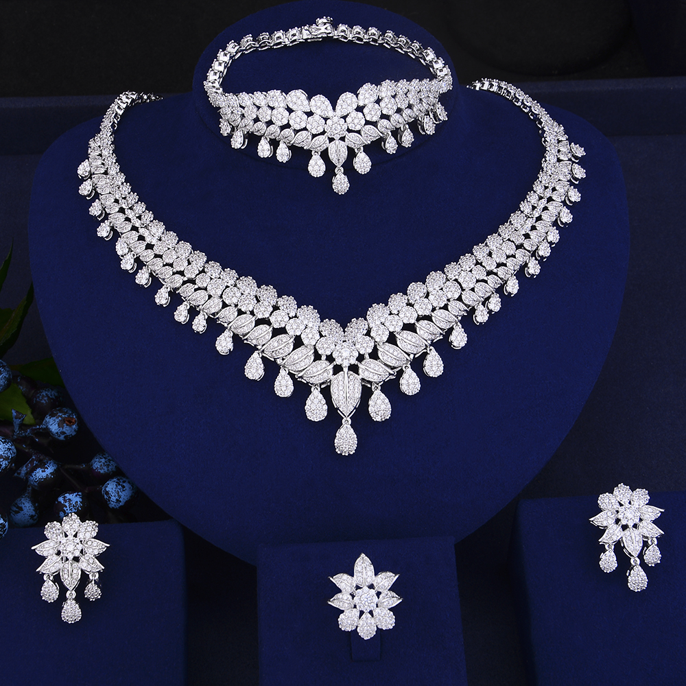 4 PCS Fashion Teardrop Shape Collar Necklace Earrings Bracelet Ring Jewelry Sets Cubic Zirconia Wedding Jewelry Sets For Women 4pcs trendy flower shape indian jewelry sets cubic zirconia collar necklace stud earrings bracelet ring for women wedding
