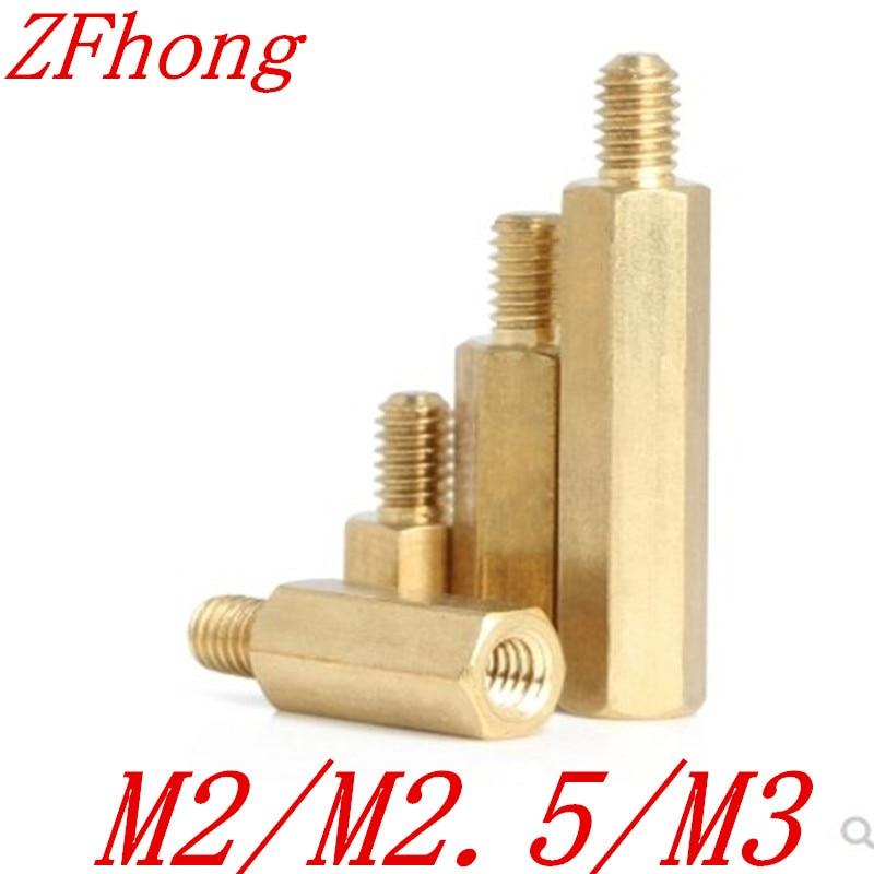 50pcs male to female M2 M2.5 m3*4/5//6/7/8/9/10/11/12 hex brass standoff spacer
