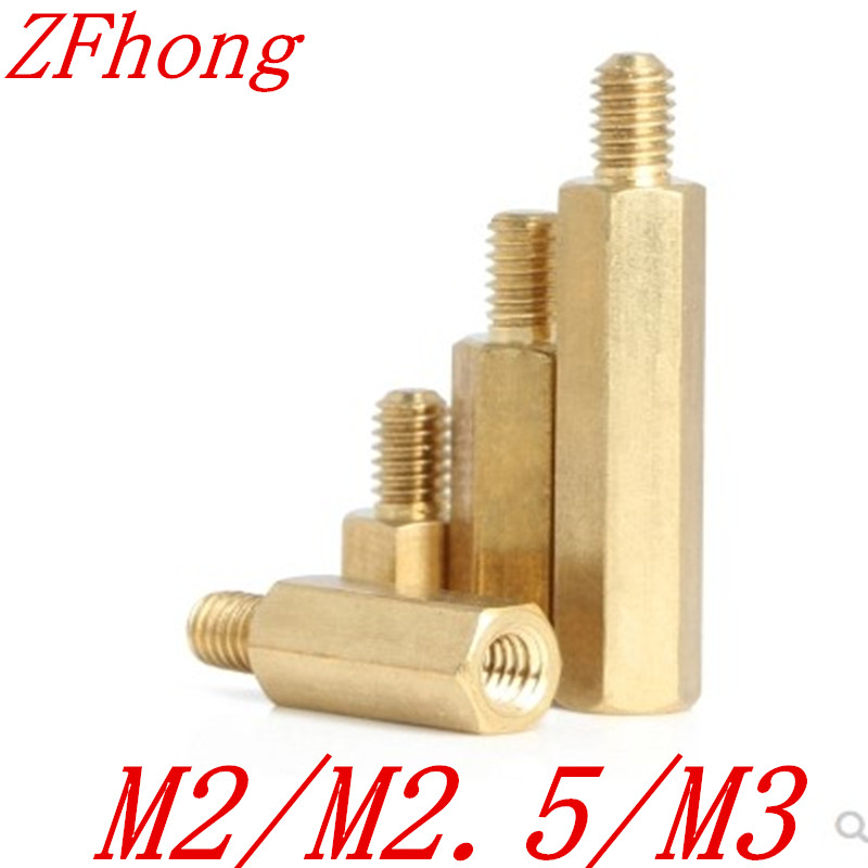 50pcs male to female <font><b>M2</b></font> <font><b>M2</b></font>.5 m3*4/5//6/7/8/9/10/11/12 hex <font><b>brass</b></font> <font><b>standoff</b></font> spacer image