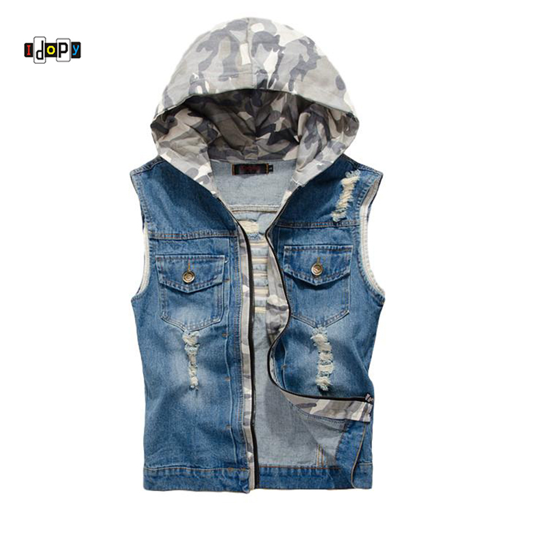 Idopy Summer Men`s Jeans Vest With Detachable Hood Slim Fit Washed Vintage Retro Dark Blue Denim Sleeveless Jacket For Men