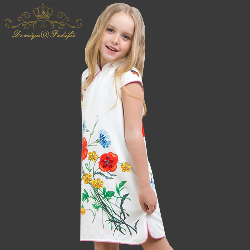 Domiya&Fakifii Girls Dresses 2018 New Brand Summer Fashion Princess Flying Sleeve Flower Crystal Girls Dresses Clothes For 2-14Y женское платье brand new dilameng 6382 summer dresses