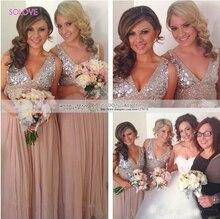 Cap Sleeve V Neck Beach Bridesmaid Dress Beaded Crystal Sequin Bridesmaid Dress Wedding Gowns vestido de dama de honor (SL-B54)