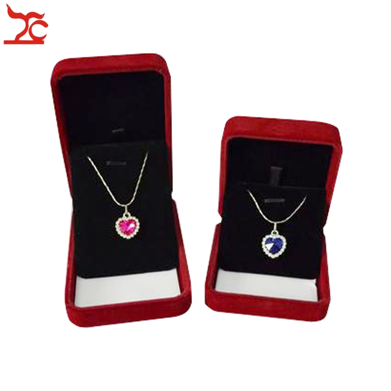 2Pcs Jewelry Box Dark Red and Black Velvet Pendant Box Necklace Jewelry Organizer Gift Box